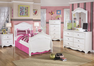 Exquisite Twin Sleigh Bed, Dresser, Mirror, Chest & Night Stand