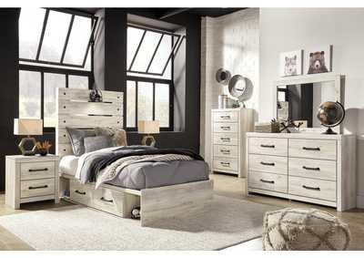 Image for Cambeck Twin Panel Bed with 4 Underbed Storage Drawers, Dresser and Mirror