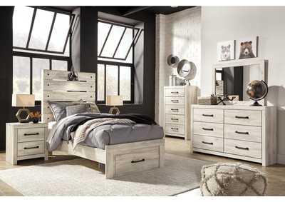 Image for Cambeck Twin Panel Bed with 1 Storage Drawers, Dresser and Mirror