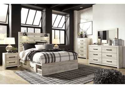 Image for Cambeck Queen Panel Bed with 4 Side Storage Drawers, Dresser and Mirror