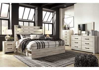 Image for Cambeck King Panel Bed with 4 Side Storage Drawers, Dresser and Mirror
