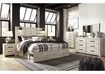 Image for Cambeck King Panel Bed with 4 Underbed Storage Drawers, Dresser and Mirror