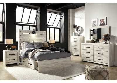 Image for Cambeck Full Panel Bed with 4 Side Storage Drawers, Dresser and Mirror