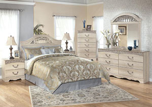 Catalina Queen Panel Headboard w/Dresser, Mirror & Drawer Chest