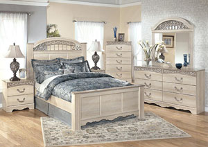 Catalina Queen Poster Bed w/Dresser, Mirror, Drawer Chest & Nightstand