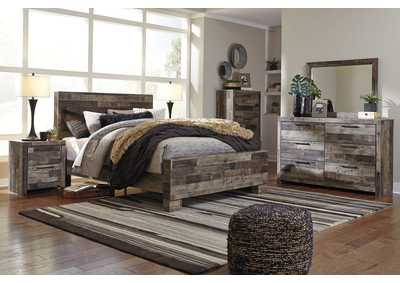 Derekson Multi Gray Queen Panel Bed w/Dresser & Mirror