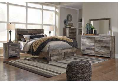 Derekson Multi Gray Queen Platform Bed w/Dresser & Mirror
