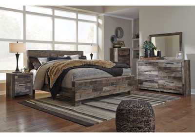 Derekson Multi Gray King Panel Bed w/Dresser and Mirror