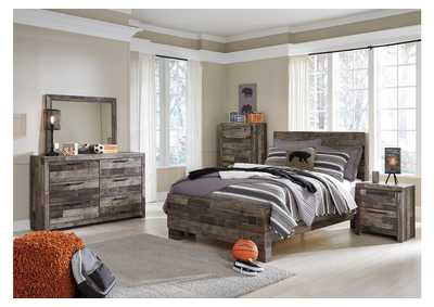 Derekson Multi Gray Full Panel Bed w/Dresser & Mirror