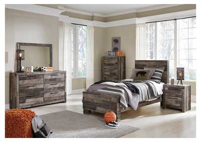 Derekson Multi Gray Twin Panel Footboard Bed w/Dresser & Mirror