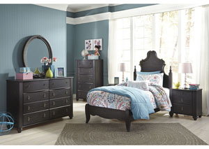 Corilyn Dark Brown Twin Poster Bed w/Dresser, Mirror, Drawer Chest & Nightstand