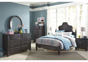 Corilyn Dark Brown Full Poster Bed w/Dresser, Mirror, Drawer Chest & Nightstand