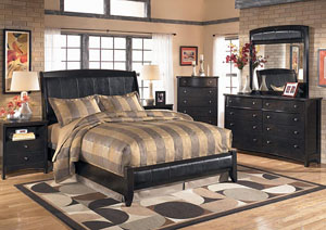 Harmony Queen Sleigh Bed w/Dresser, Mirror & Drawer Chest