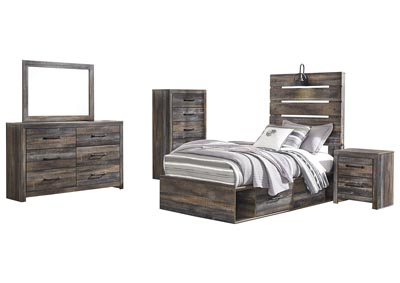 Drystan Twin Storage Bed w/Dresser & Mirror