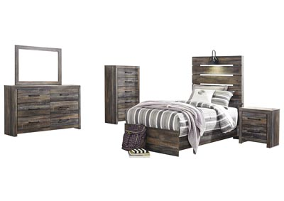 Drystan Twin Panel Bed w/Dresser & Mirror