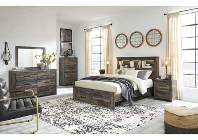 Drystan Bookcase Queen Storage Bed w/Dresser and Mirror