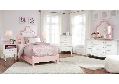 Laddi White/Pink Twin Upholstered Poster Bed and Dresser w/Mirror