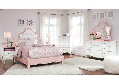 Laddi White/Pink Full Upholstered Poster Bed and Dresser w/Mirror