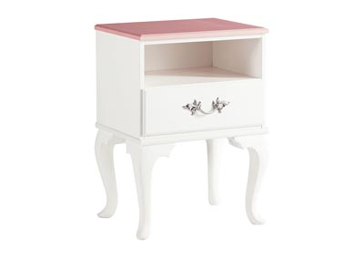 Laddi White/Pink One Drawer Nightstand