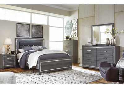 Lodanna Gray King Panel Bed w/Dresser & Mirror