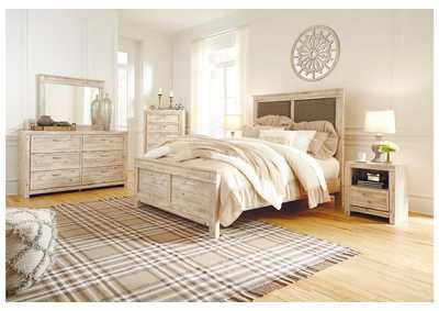 Willabry Weathered Beige Upholstered King Panel Bed w/Dresser & Mirror