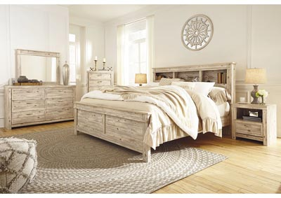 Willabry Weathered Beige Bookcase Headboard King/California King Panel Bed