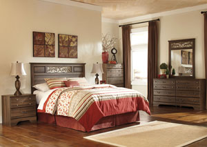 Allymore Queen/Full Panel Headboard w/Dresser, Mirror, Drawer Chest & Nightstand