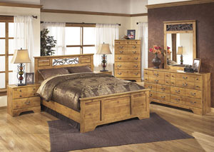 Bittersweet Queen Panel Bed w/Dresser, Mirror, Drawer Chest & Nightstand