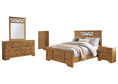 Bittersweet Light Brown Queen Panel Bed w/Dresser & Mirror