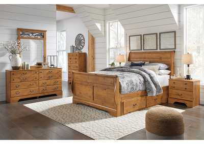 Bittersweet Light Brown Queen Sleigh Storage Bed w/Dresser & Mirror