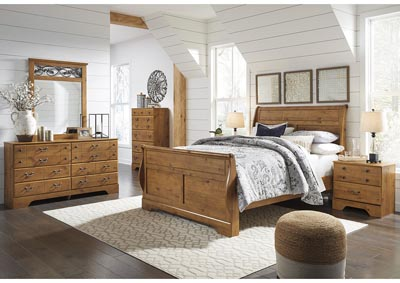 Bittersweet Light Brown Queen Sleigh Bed w/Dresser & Mirror