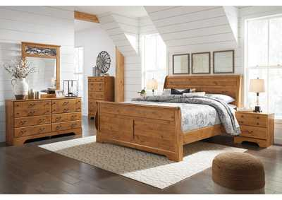 Bittersweet Light Brown King Sleigh Bed w/Dresser & Mirror