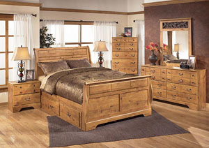 Bittersweet King Sleigh Storage Bed w/Dresser, Mirror & Drawer Chest