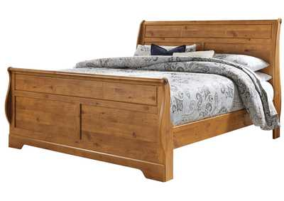 Bittersweet Light Brown King Sleigh Bed