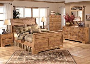 Bittersweet King Sleigh Bed w/Dresser, Mirror, Drawer Chest & Nightstand