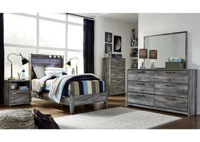 Baystorm Gray Twin Panel Bed w/Dresser and Mirror