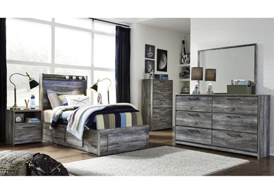 Baystorm Gray Twin Storage Bed w/Dresser and Mirror