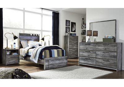 Baystorm Gray Twin Platform Storage Bed w/Dresser and Mirror