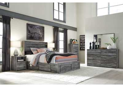 Baystorm Gray King Storage Bed w/Dresser, Mirror, Drawer Chest & Nightstand