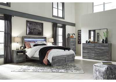 Baystorm Gray Queen Platform Storage Bed w/Dresser and Mirror