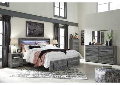 Baystorm Gray King Platform Storage Bed w/Dresser and Mirror