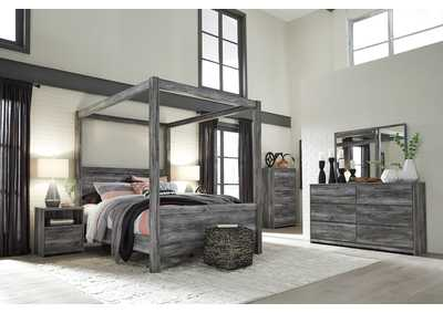 Baystorm Gray Queen Canopy Bed w/Dresser, Mirror, Drawer Chest & Nightstand