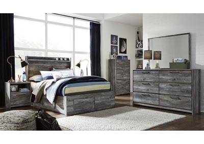 Baystorm Gray Full Storage Bed w/Dresser and Mirror