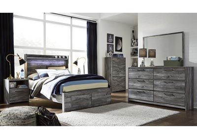 Baystorm Gray Full Platform Storage Bed w/Dresser and Mirror