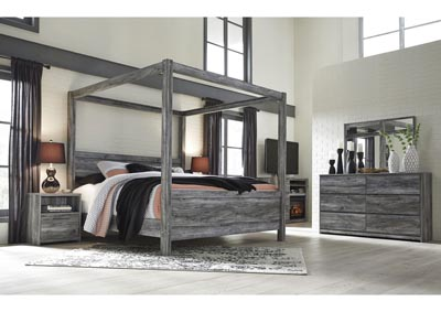 Baystorm Gray King Canopy  Bed w/Dresser and Mirror