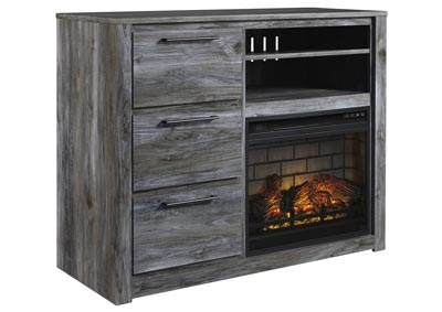 Baystorm Gray Media Chest w/Fireplace Insert Infrared