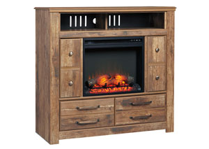 Blaneville Brown Media Chest w/Fireplace
