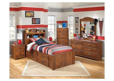 Barchan Twin Bookcase Bed w/ Storage, Dresser & Mirror