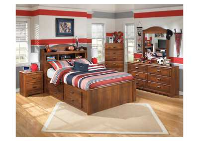 Barchan Full Bookcase Storage Bed w/Dresser & Mirror