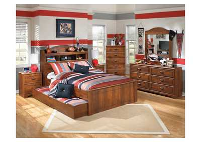 Barchan Full Bookcase Trundle Bed w/Dresser & Mirror